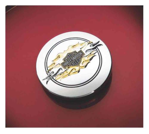Harley-Davidson® Flames Bar & Shield Fuel Cap Medallion Adhesive Backing 99686-98