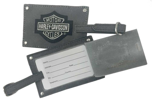 Harley-Davidson® Bar & Shield Belted Luggage Tags, Gray Leather 99301-GRAY - Wisconsin Harley-Davidson