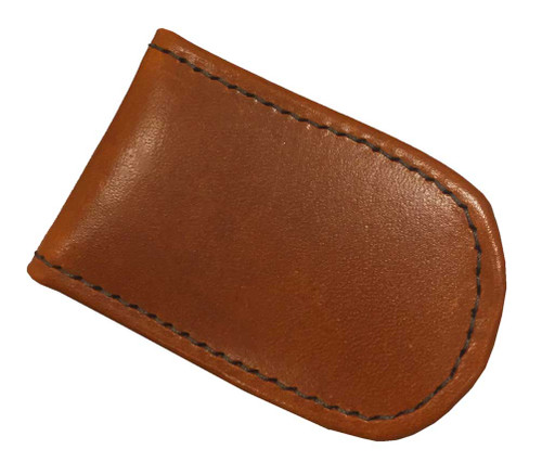 Genuine Leather Men's Leather Magnetic Money Clip, Brown Biker Leather MC-46