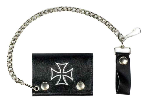 Genuine Leather Mens Iron Cross Tri-Fold Biker Chain Wallet, Black TC304-137S