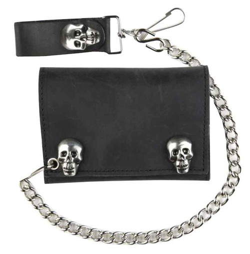 Genuine Leather Men's Metal Skull Snaps Tri-Fold Biker Chain Wallet, Black SK328