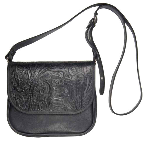 Genuine Leather Women's Embossed Floral Crossbody Purse, Leather Black BF646