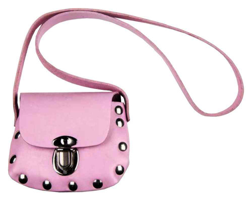 Genuine Leather Little Girls' Studded Little Shoulder Bag Purse, Pink PP32