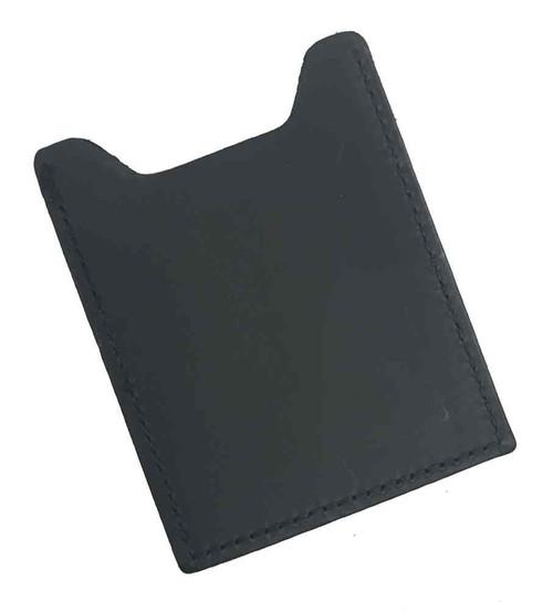 Genuine Leather Men's Money Clip & Business Card Case, Black Leather MC957-B