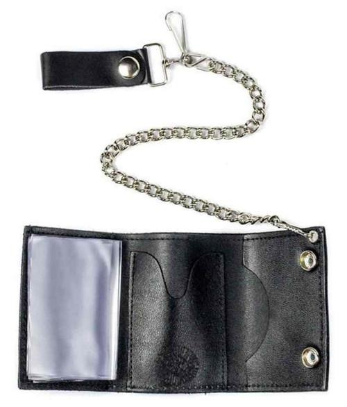 Genuine Leather Men's Skull & Crossbones Tri-Fold Chain Wallet, Black TC304-6