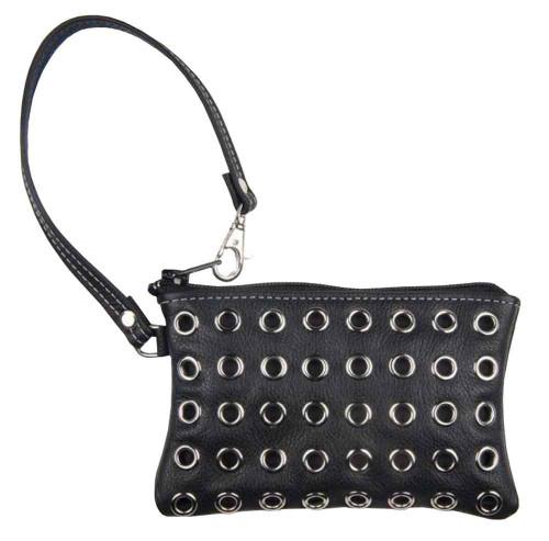 Genuine Leather Women's Eyelets Grommet Wrist Pouch, Black Biker Leather GW17