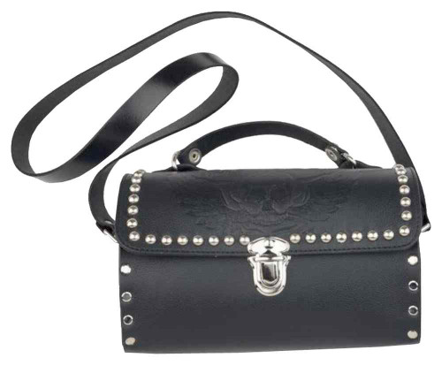 Genuine Leather Women's Embossed Winged Skull Studded Barrel Purse, Black SK36