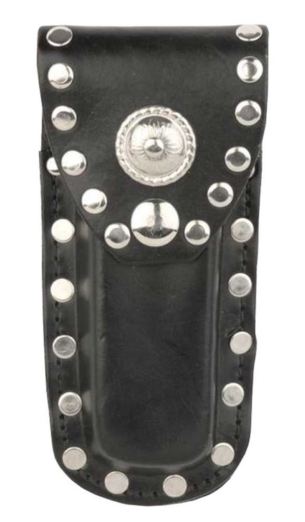 Genuine Leather Studded Knife Case, Fits 5 in Knives, Black Leather SC600R-5