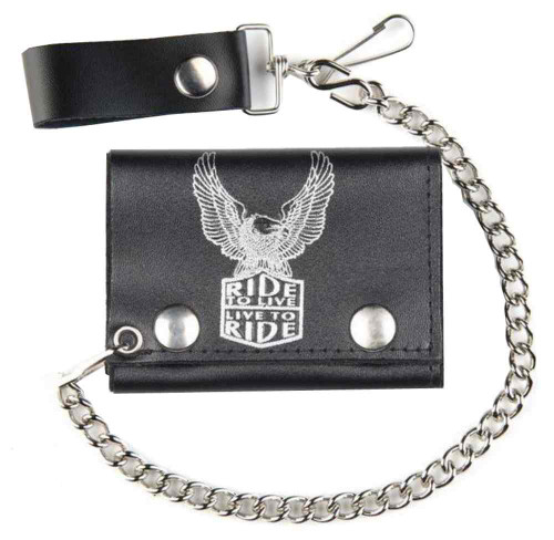 Biker Mens Live To Ride Tri-Fold Chain Wallet, Genuine Black Leather TC304-61