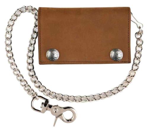 Biker Style Mens XL TriFold Biker Chain Wallet w/ Indian Head Snaps Brown PIN337