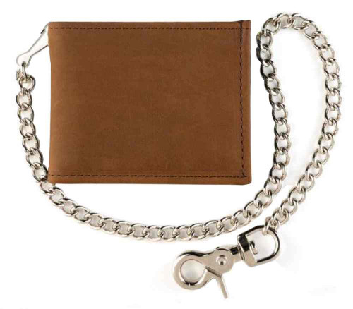 Genuine Leather Mens Billfold Motorcycle Biker Chain Wallet, Brown Leather TC307