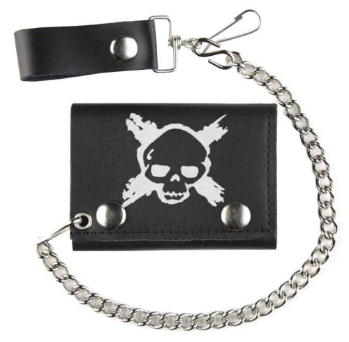 Biker Men's X-Skull Tri-Fold Motorcycle Chain Wallet, Genuine Leather TC304-201