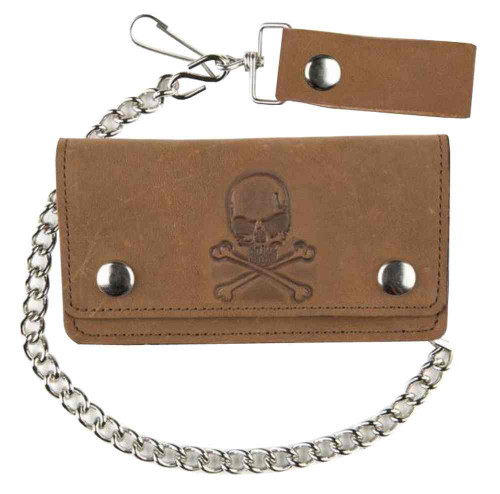 Biker Men's 6 in Embossed Skull & Crossbones Motorcycle Chain Wallet PU500-6