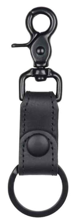 Biker Black on Black Motorcycle Key Fob, Trigger Hook, Genuine Leather BBK60