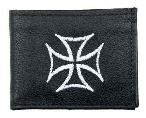 Genuine Leather Men's Embroidered Iron Cross Billfold Wallet, Black FB816-IC1