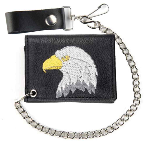 Genuine Leather Men's Embroidered Eagle Tri-Fold Biker Chain Wallet TC813-KKS