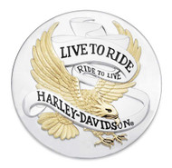 Harley-Davidson® Live To Ride Eagle Gold Adhesive Medallion, 3.5 inches 99027-90T