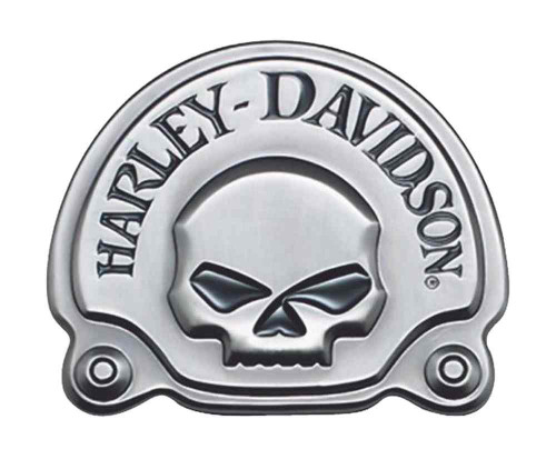 Harley-Davidson® Antique Nickel Willie G Skull Medallion, 3.625 x 3 inch 91720-02