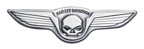 Harley-Davidson® Antique Nickel Winged Skull Medallion, 5 x 1.5 inch 91732-02