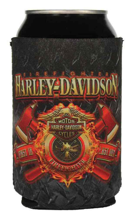 Harley-Davidson® Firefighter Original Can Flat, Black & Red Neoprene CF126581