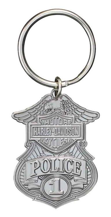 Harley-Davidson® Police Original 3D Die Cast Key Chain, Antique Nickel KY126306