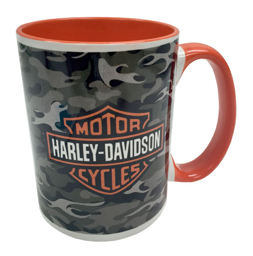 Harley-Davidson® Camo Flames Bar & Shield 2-Sided Coffee Mug, Orange HD-BSC-17720