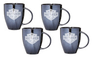 Harley-Davidson® Bar & Shield Ceramic Coffee Mug, 18 oz Black - Set of 4