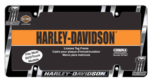 Harley-Davidson® #1 Skull Dark Custom License Plate Frame, Chrome CG42526