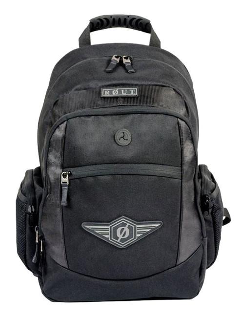 ROUT Adventurer Classic Backpack, Durable & Tough Nylon, Solid Black RBP9123