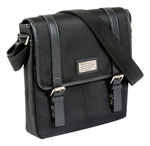 ROUT Competitor Ballistic Vertical Messenger, Full-Grain Leather Trim RBN22015