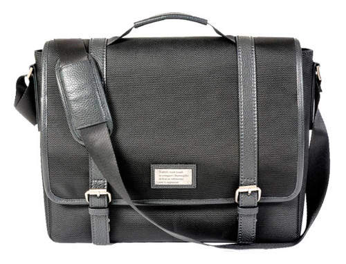 ROUT Competitor Ballistic Messenger Bag, Full-Grain Leather Trim, Black RBN22002