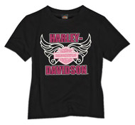 Harley-Davidson® Little Girls' Glittery Wing B&S Short Sleeve Tee, Black 1520691 - Wisconsin Harley-Davidson