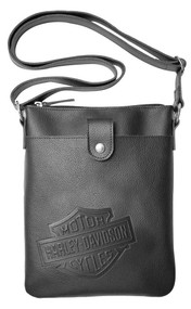 Harley-Davidson® Women's B&S Embossed Vertical Crossbody Purse ZWL4703-BLACK - Wisconsin Harley-Davidson