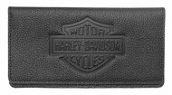 Harley-Davidson® Womens B&S Embossed Checkbook Cover, Black Leather ZWL4752-BLACK - Wisconsin Harley-Davidson