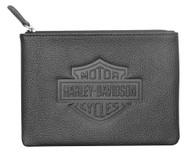 Harley-Davidson® Women's B&S Embossed Zip Utility Coin Pouch, Black ZWL4761-BLACK - Wisconsin Harley-Davidson