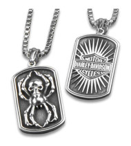 Harley-Davidson® Spider Skull Heavy-Duty Premium Chain Dog Tag, Chrome 8004996