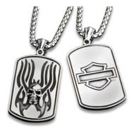 Harley-Davidson® Flaming Skull Heavy-Duty Premium Chain Dog Tag, Chrome 8005016