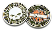 Harley-Davidson® Willie G Skull Bar & Shield Camo Challenge Coin, 1.75 in 8005085