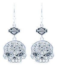 Harley-Davidson® Women's Marcasite & Black CZ Bling Skull Drop Earrings HDE0417