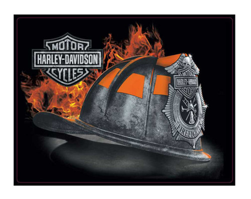 Harley-Davidson® Embossed Firefighter Helmet Tin Sign, 17 x 13 inches 2011251 - Wisconsin Harley-Davidson