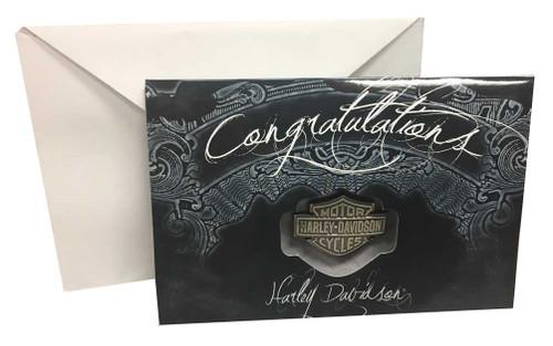 Harley-Davidson® Congratulations Greeting Card & Bar & Shield Pin Set 119394