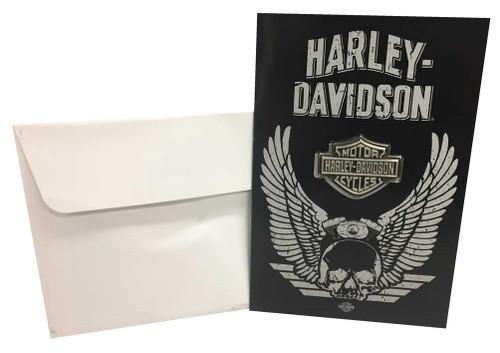 Harley-Davidson® Distressed Wing Skull Greeting Card w/ Bar & Shield Pin 199222