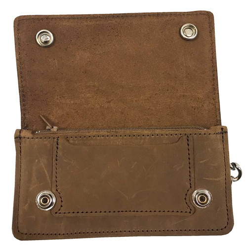 Biker Men's 6 in Chain Wallet w/ Buffalo Snaps, Genuine Brown Leather PUB500