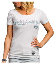 Harley-Davidson® Women's Riding Addiction Keyhole Back Tee, White H602-HE07 (H602-HE07)