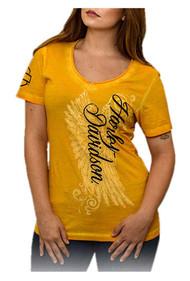 Harley-Davidson® Women's Road Diva Notched V-Neck Short Sleeve Tee, Yellow