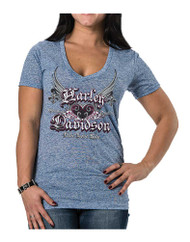 Harley-Davidson® Women's Unite Winged Heart Short Sleeve Tee, Blueberry Blue