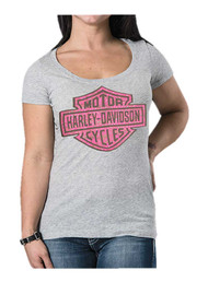 Harley-Davidson® Women's Studded Lace Bar & Shield Short Sleeve Tee, Heather Gray