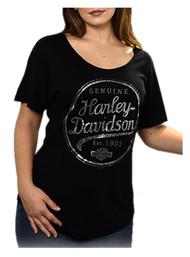 Harley-Davidson® Women's Geared Up Foil Curved Hem Short Sleeve Tee, Black