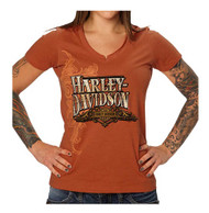 Harley-Davidson® Women's Embellished Topaz Sunset Notched V-Neck Tee, Orange