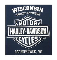 Harley-Davidson® Men's Beer Label H-D Script Short Sleeve T-Shirt, Navy Blue